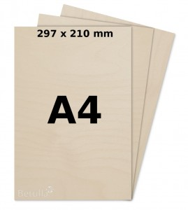Formatka  A4 297x210mm do cięcią laserem  sklejka 4mm kl.2